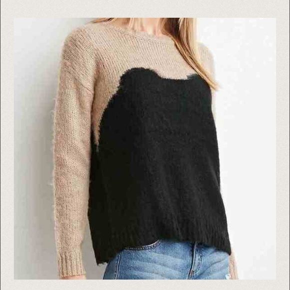 Fuzzy Knit Sweater! A long-sleeved sweater crafted from a fuzzy knit with a colorblocked body. 100% acrylic. Forever 21 Sweaters