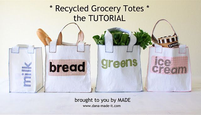 Easy Sew Recycled Grocery Bags
