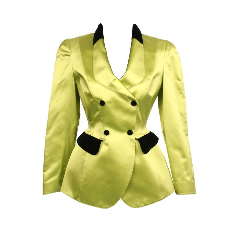Thierry Mugler jacket with bustle. Bright green satin with velvet details. Avant-garde design   France, 1980's