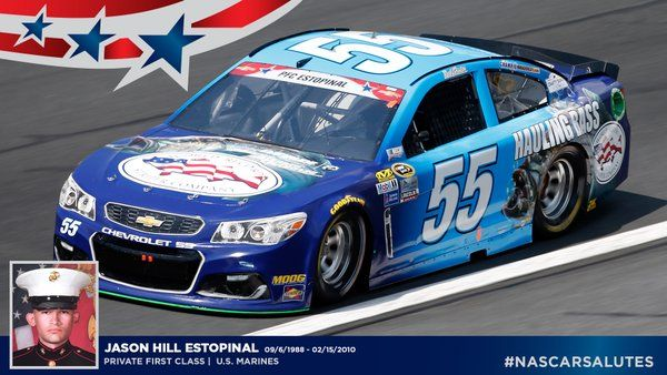 "NASCAR on Twitter: ""#NASCARsalutes U.S. Marines Private First Class Jason Hill Estopinal (9/6/88 - 2/15/10)."