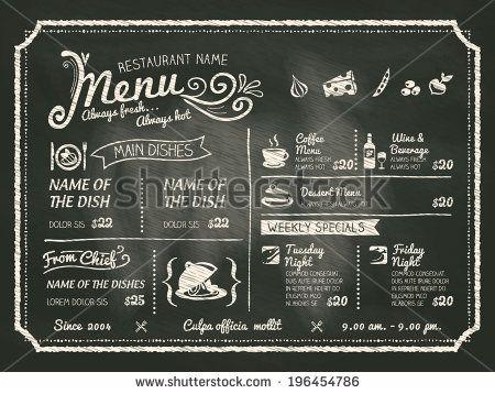 Restaurant Food Menu Design with Chalkboard Background - stock ...