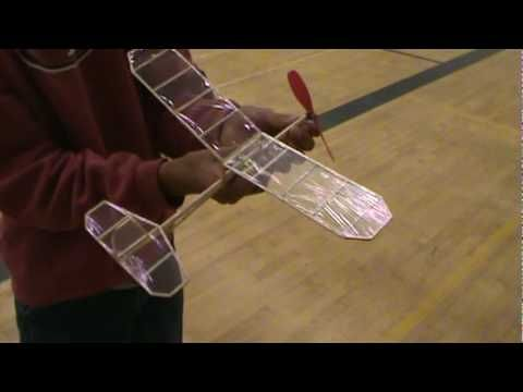 Indoor Flight Of Rubber Band Powered Airplane Hobby A