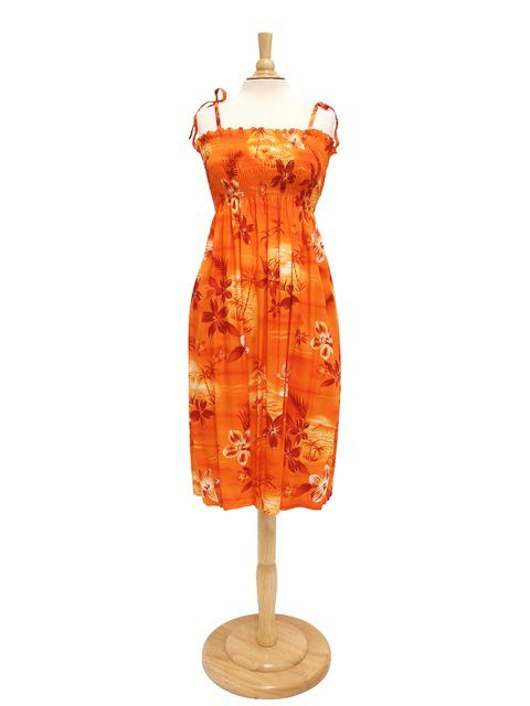 Two Palms Summer Dress TP 609R  Moonlight Scenic Orange  for Hawaiian Luau  Party and Tropical Vacation! Free Shipping from Hawaii! 02eb05748c1b