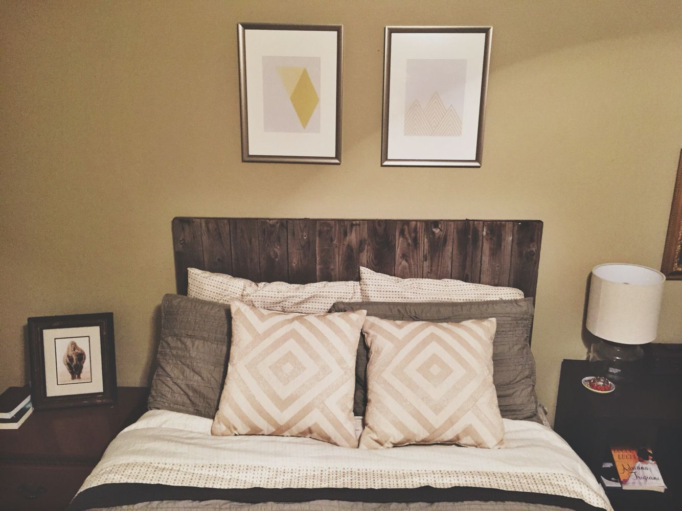 Headboard made from scrap fencing. pillows from target. frames from ...