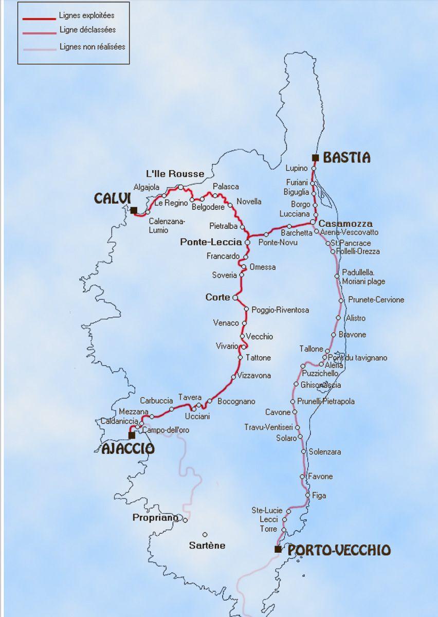 Схема маршрутов поездов по Корсике