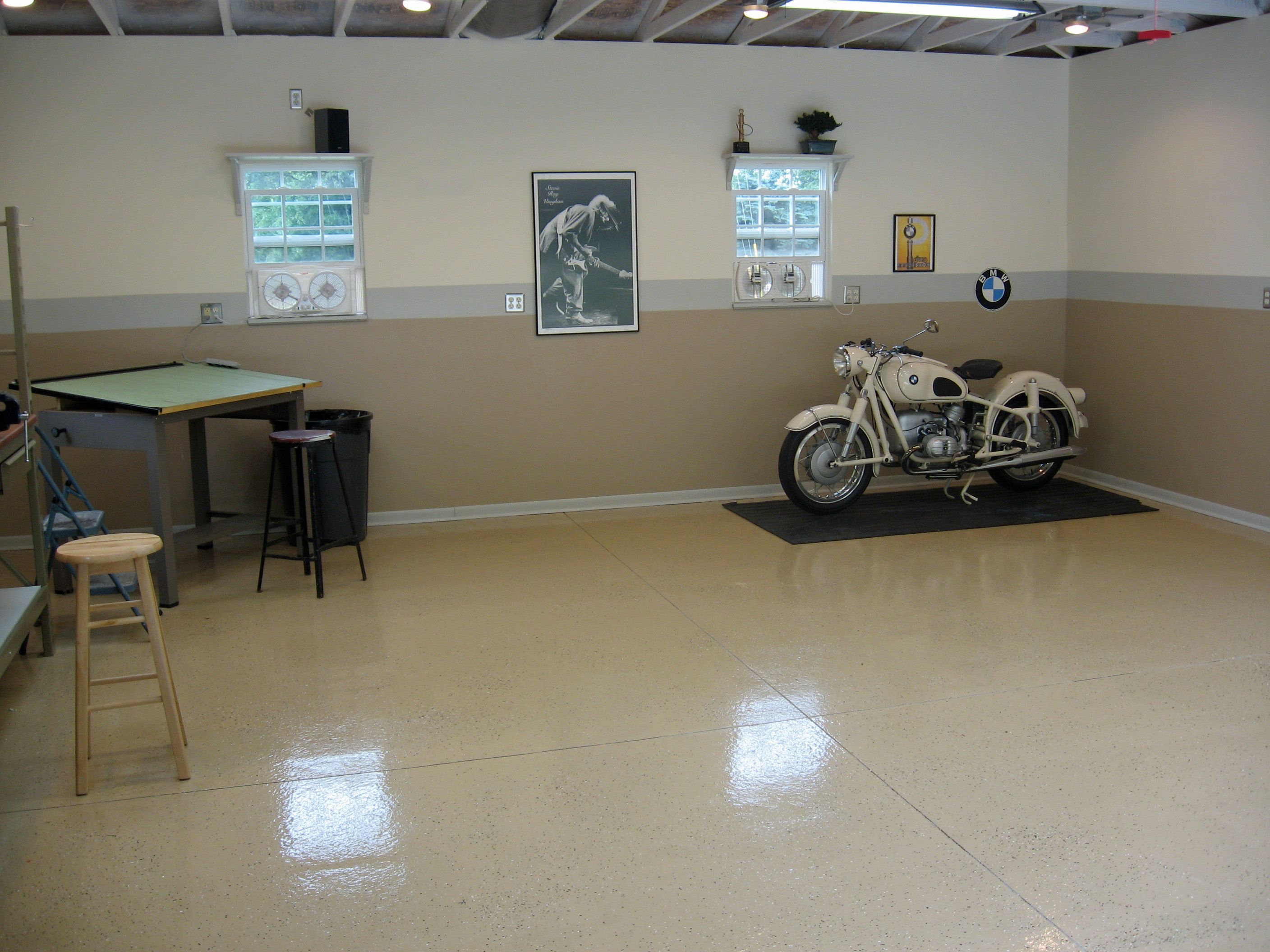 Minimalist Garage With Vintage Bmw Motorcycle