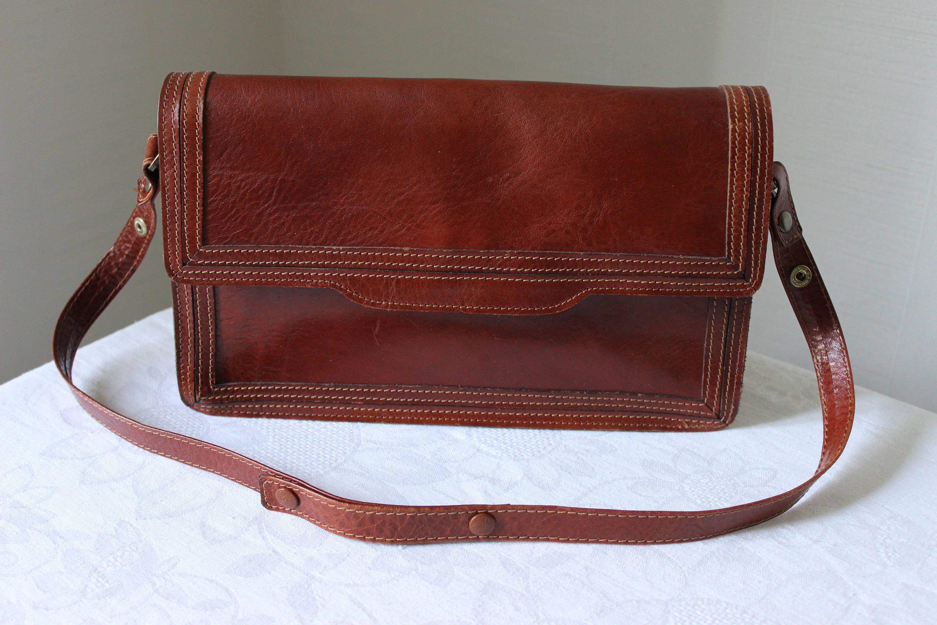 8869a546e980 BOXCA DENMARK Scandinavian Vintage Genuine Leather Shoulder Bag (11x7)  inches (28,5 x 17,5) cm Brown Leather Crossbody Purse Leather Satchel by ...