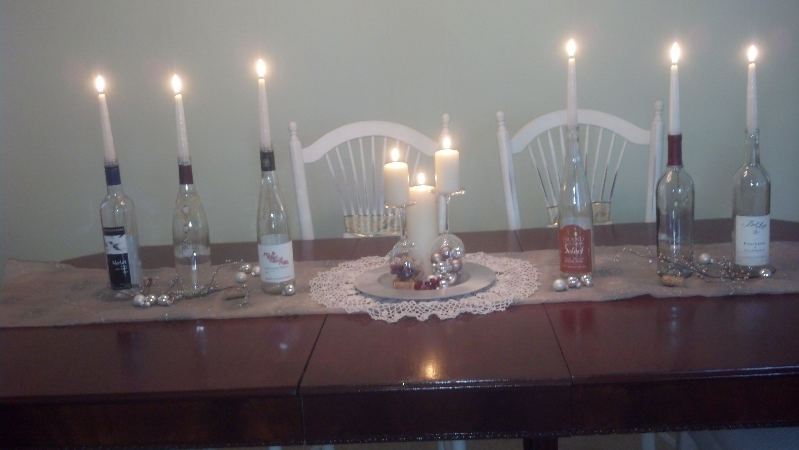 wine theme Christmas, wine glass, wine bottle and candles for the table