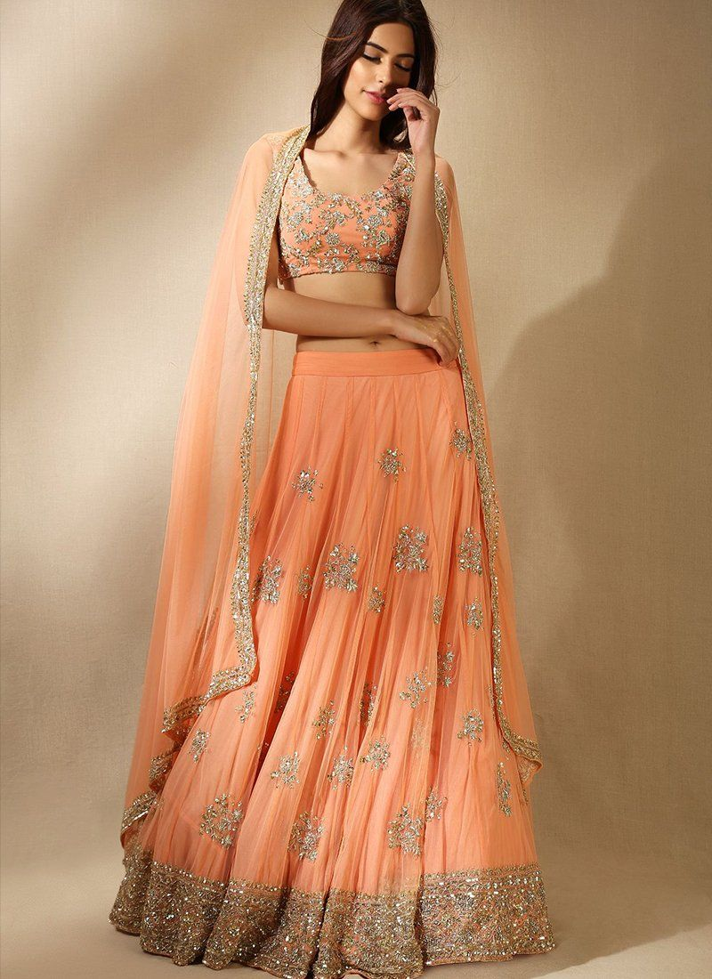 7f117a55f Price is  195.00 Exclusive Heavy Designer Beautiful Peach Color Party Wear  Lehenga Choli-STYLIZONE – Stylizone  lehenga  lehengacholi  saree  fashion  ...