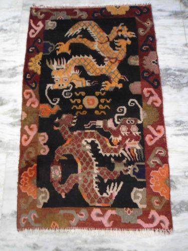 Antique Tibet Wool Rug Carpets Tibetan 3x5 Red Phoenix