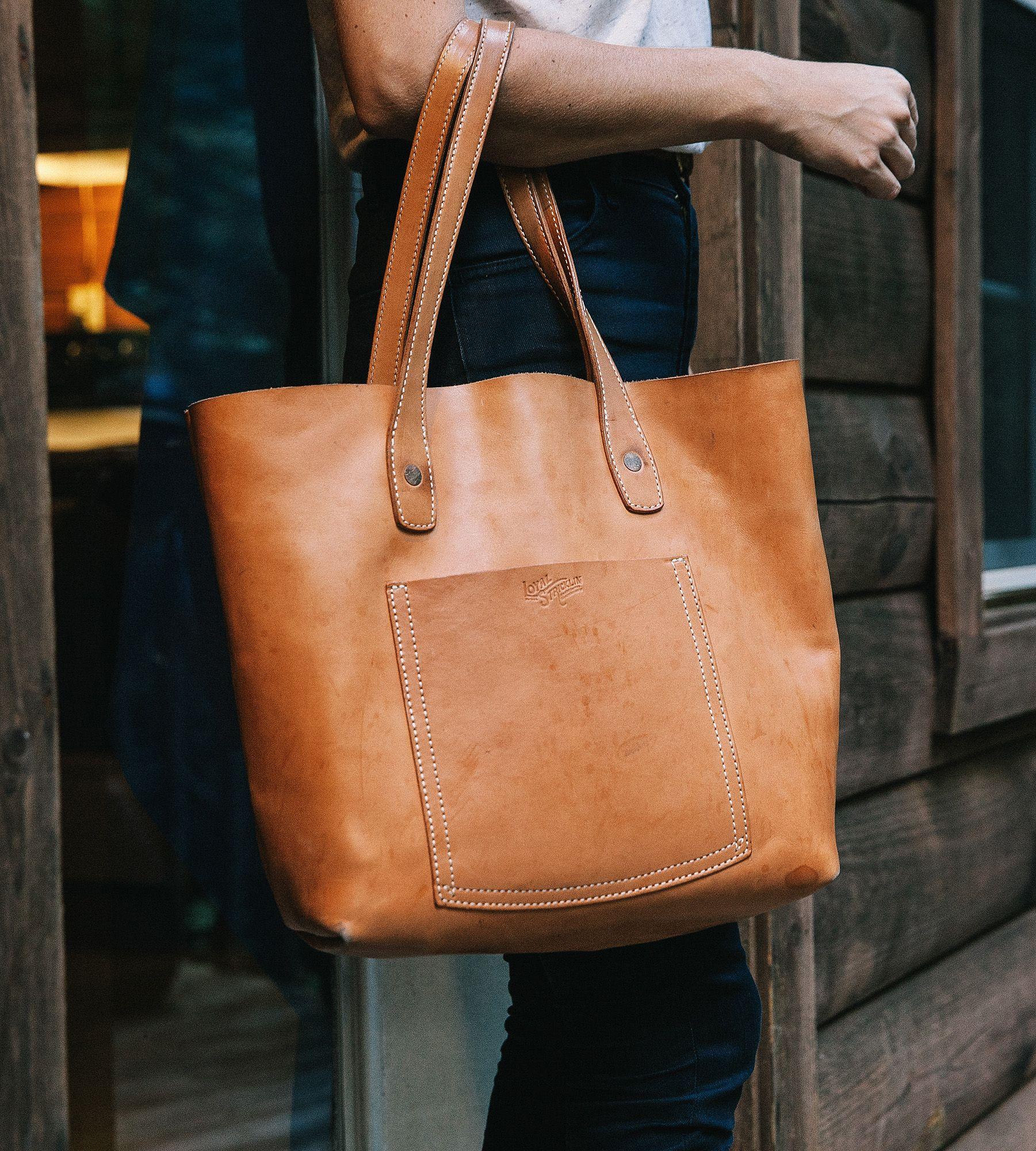 natural leather tote bag