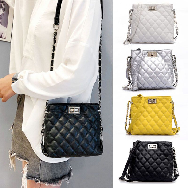 86c6bfb78249 NEW Women Ladies Shoulder Quilted Handbag Gold Chain Faux Leather ...