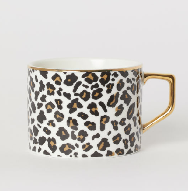 Porcelain Cup White Leopard Print Home All H M Us Printed Coffee Cups Porcelain Cup Animal Print Decor