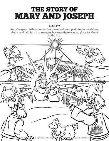 Luke 2 Mary And Joseph Christmas Story Sunday School Coloring