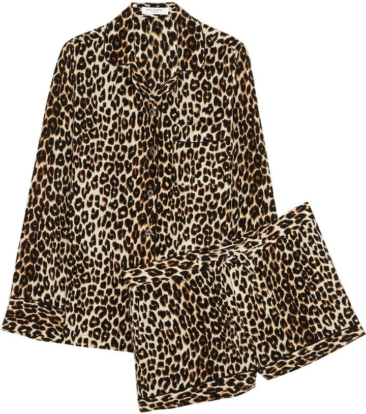 Equipment Lilian Leopard-Print Washed-Silk Pajama Set  efd39419c