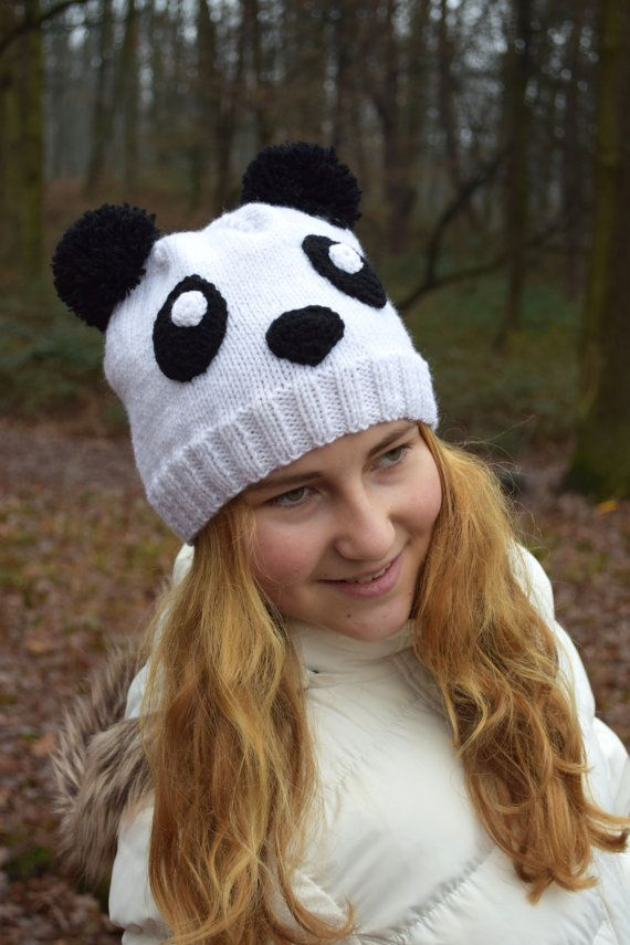 Panda knit beanie hat animal hand knit beanie Toddler hat Teen girl ... 675dc840c4e