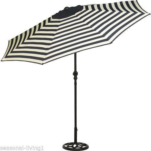 yotrio designer series black cream stripe 9 ft crank tilt patio deck umbrella - Designer Patio Umbrellas