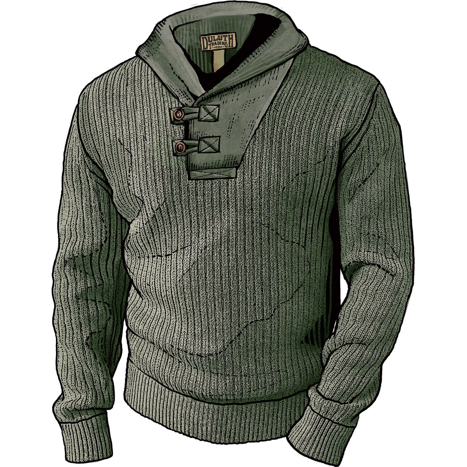 Men's High-Neck Infantry Cotton and Wool Sweater - Duluth Trading ...
