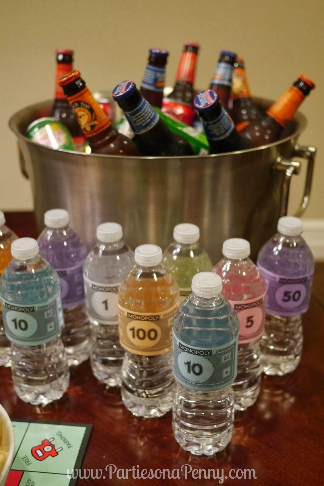 Board Game Themed Birthday Party -Drink Station ~www.PartiesonaPenny.com