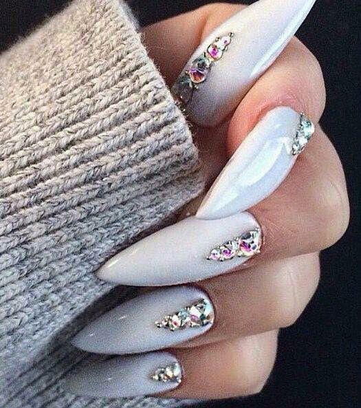 Grey jewelled stiletto nails | nail art | Pinterest | Stilettos ...