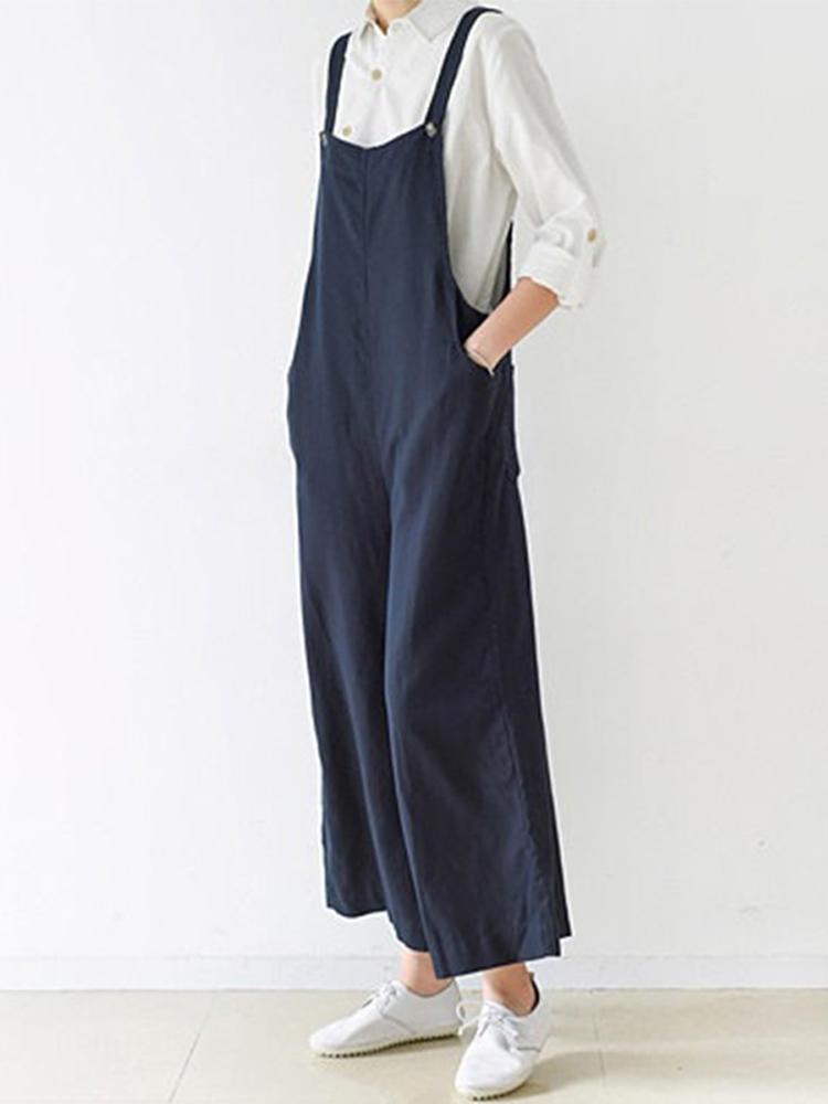 96b09e4b7a3 M-5XL Women Solid Color Strap Cotton Wide Leg Jumpsuit - Banggood Mobile