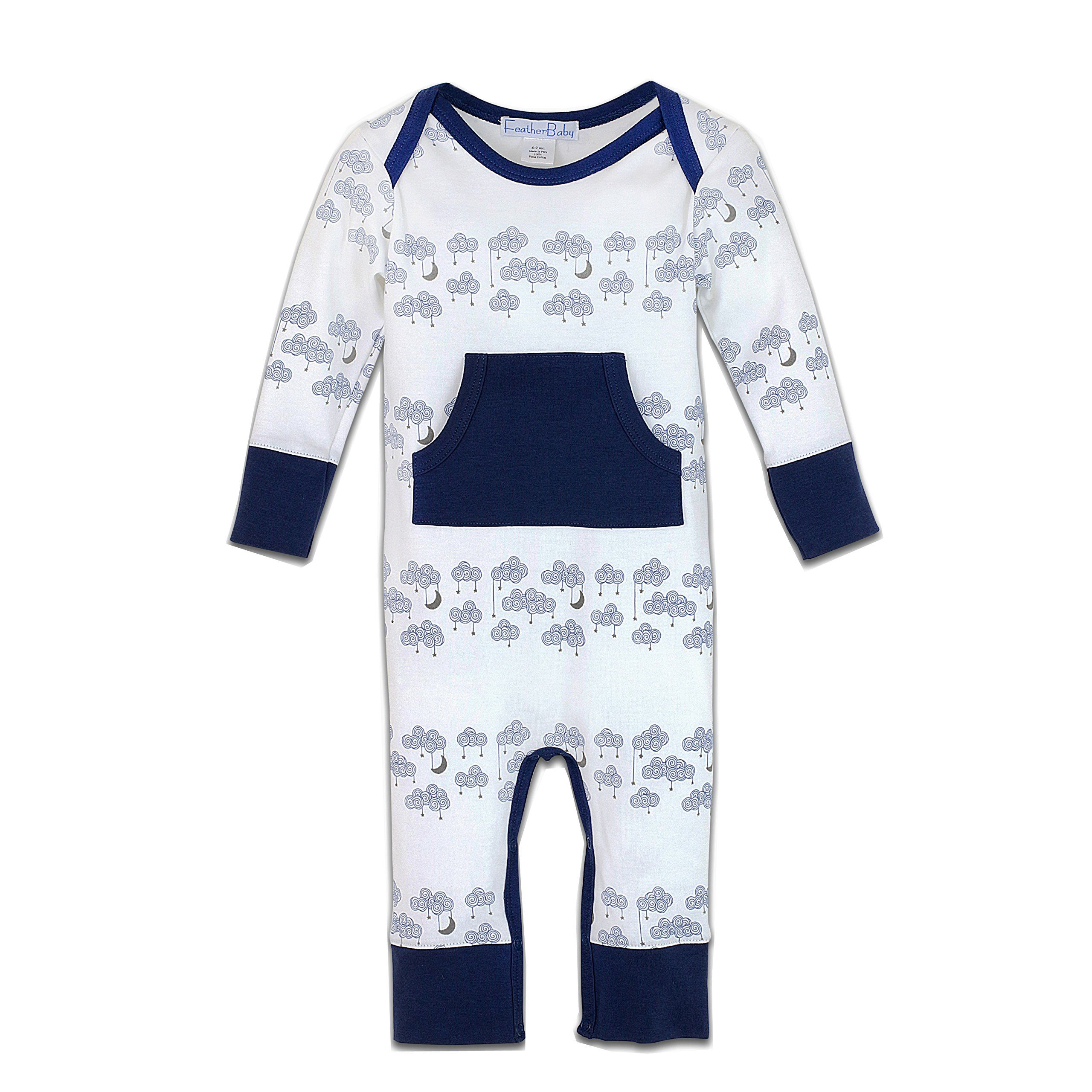 236495fb0eb8 Feather Baby Little Boys Pima Cotton Long Sleeve Lap-Sleeve Kangaroo Pocket  Romper -- Awesome products selected by Anna Churchill
