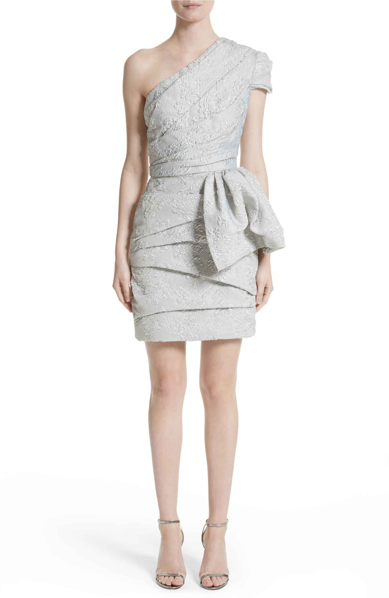 Main Image - Reem Acra One-Shoulder Metallic Brocade Dress   Gray ...