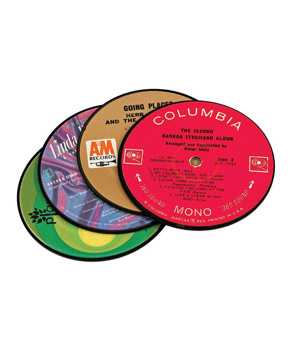 Recycled Record Coaster Set Coaster Set Dot And Bo Wine Coasters