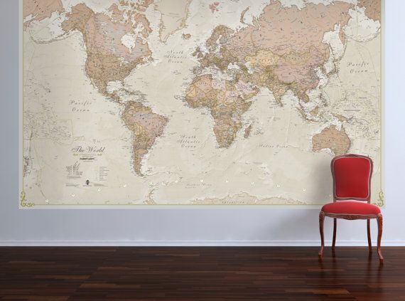 Huge antique world map vintage elegant home decor bedroom living room wall art poster also  rh pinterest