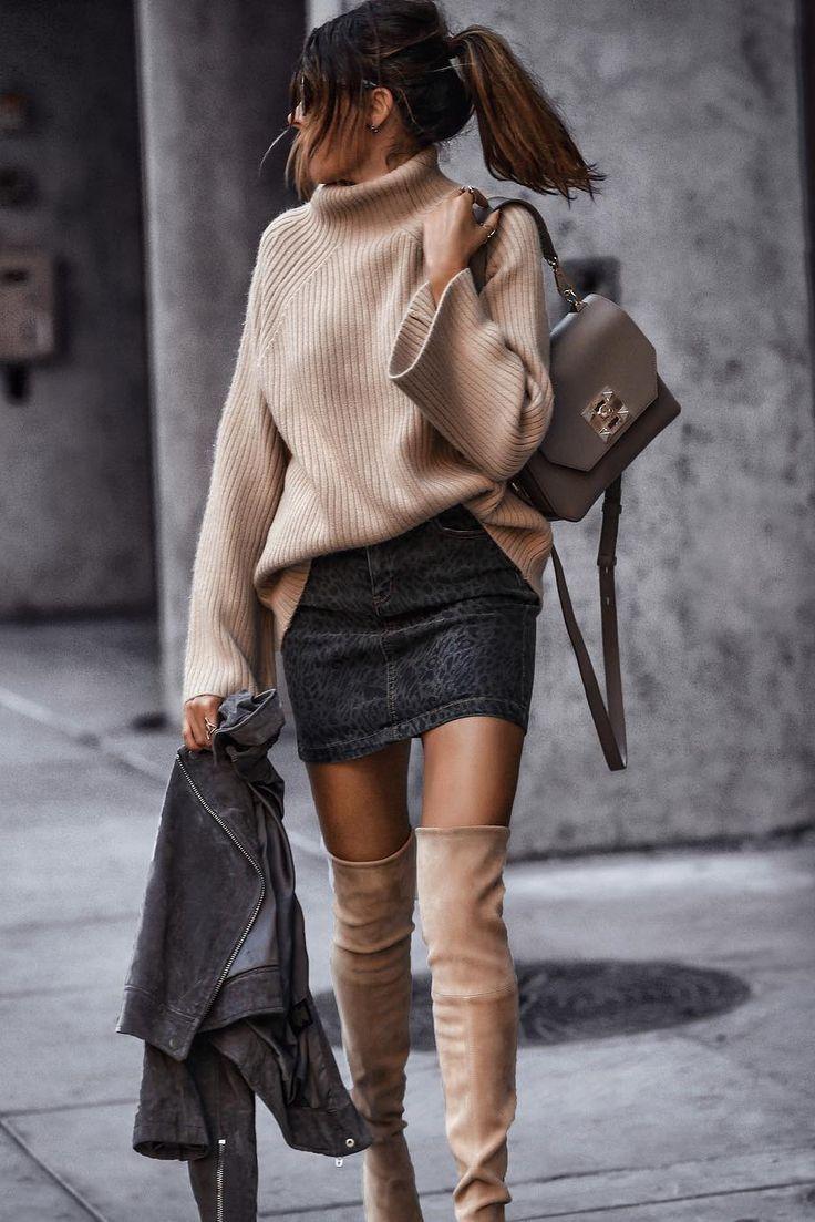 Moda casual cuello alto mangas largas aflojar suéter de punto liso