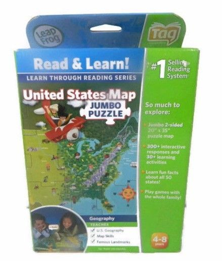 LeapFrog Read and Learn Tag Pen United States Map Jumbo Puzzle ...