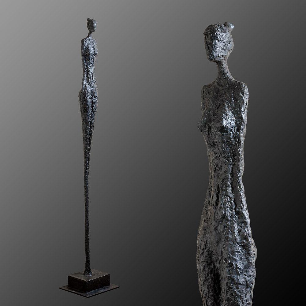 stehende weibliche skulptur unikat aus eisen schweizer kunstler david werthmuller 2017 skulpturen kunst moderne in der abstrakte