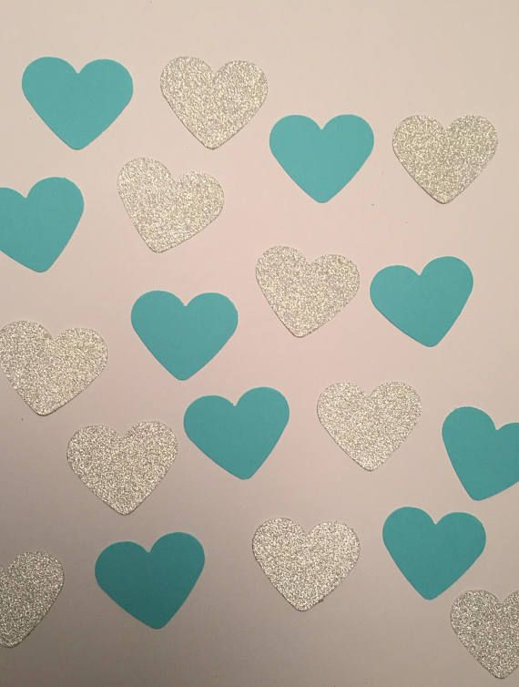 150 Pieces of Tiffany Blue and Silver Heart Confetti, Bridal Showe - confeti