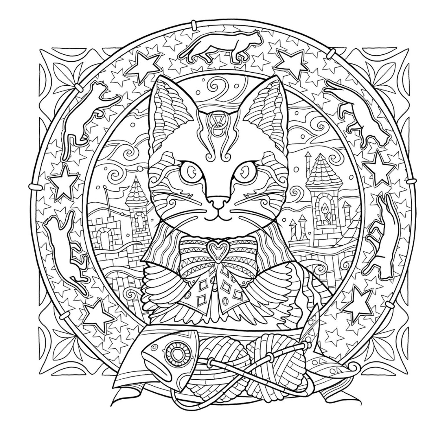 Coloring book kittens - Mystical Cats In Secret Places A Cat Lover S Coloring Book Amazon De