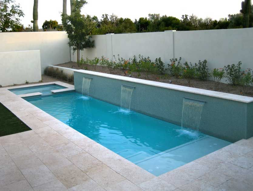 Wonderful Modern Small Space Backyard Landscape Ideas With Rectangular Infinity Pool Designs And Custom Waterfalls Views