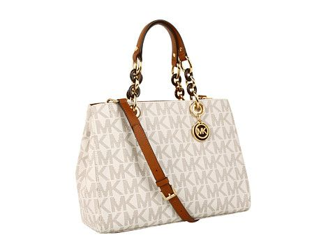 MICHAEL Michael Kors Cynthia Medium Satchel PVC Logo from Zappos ...