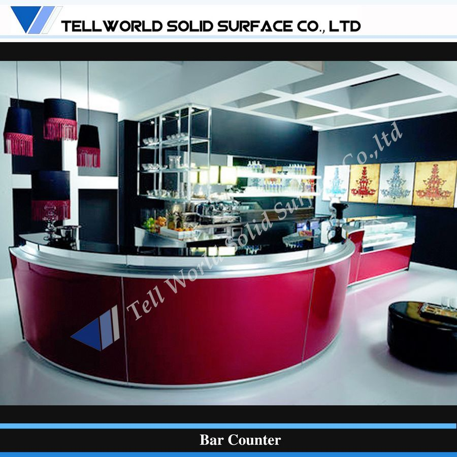 Modern Curved Design Corian Artificial Stone Commerical