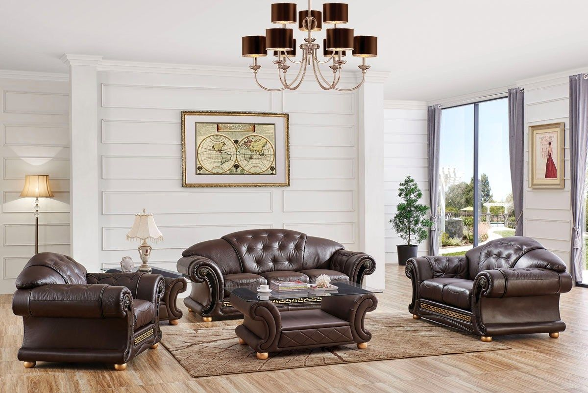 Versace Sofa Loveseat Set In Brown Croc Skin Embossed Top Grain Leather Contemporary Living Room Sets Leather Living Room Furniture Living Room Sofa Set #versace #living #room #set
