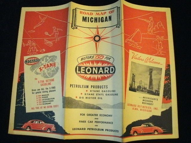 Leonard Michigan Map.Vintage 1940 S Leonard Refineries Michigan Mi Highway State Road Map