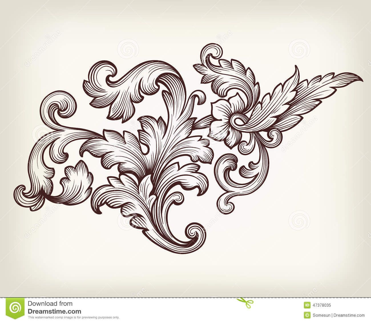Vintage Baroque Floral Scroll Ornament Vector - Download ... Барокко Орнамент