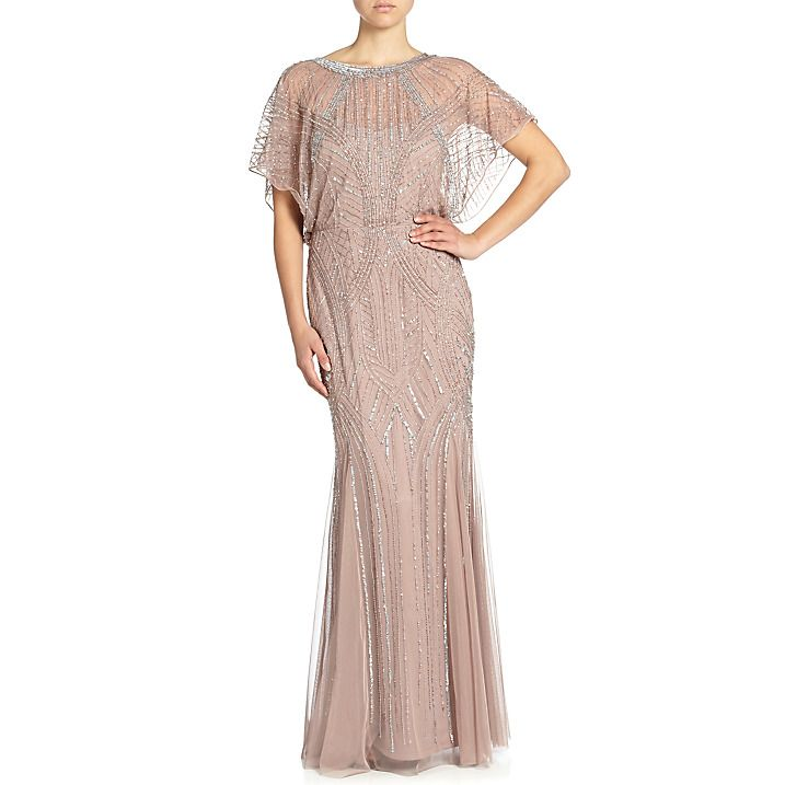 Buy Aidan Mattox Beaded Blouson Gown With Dolman Sleeve, Rose Gold ...