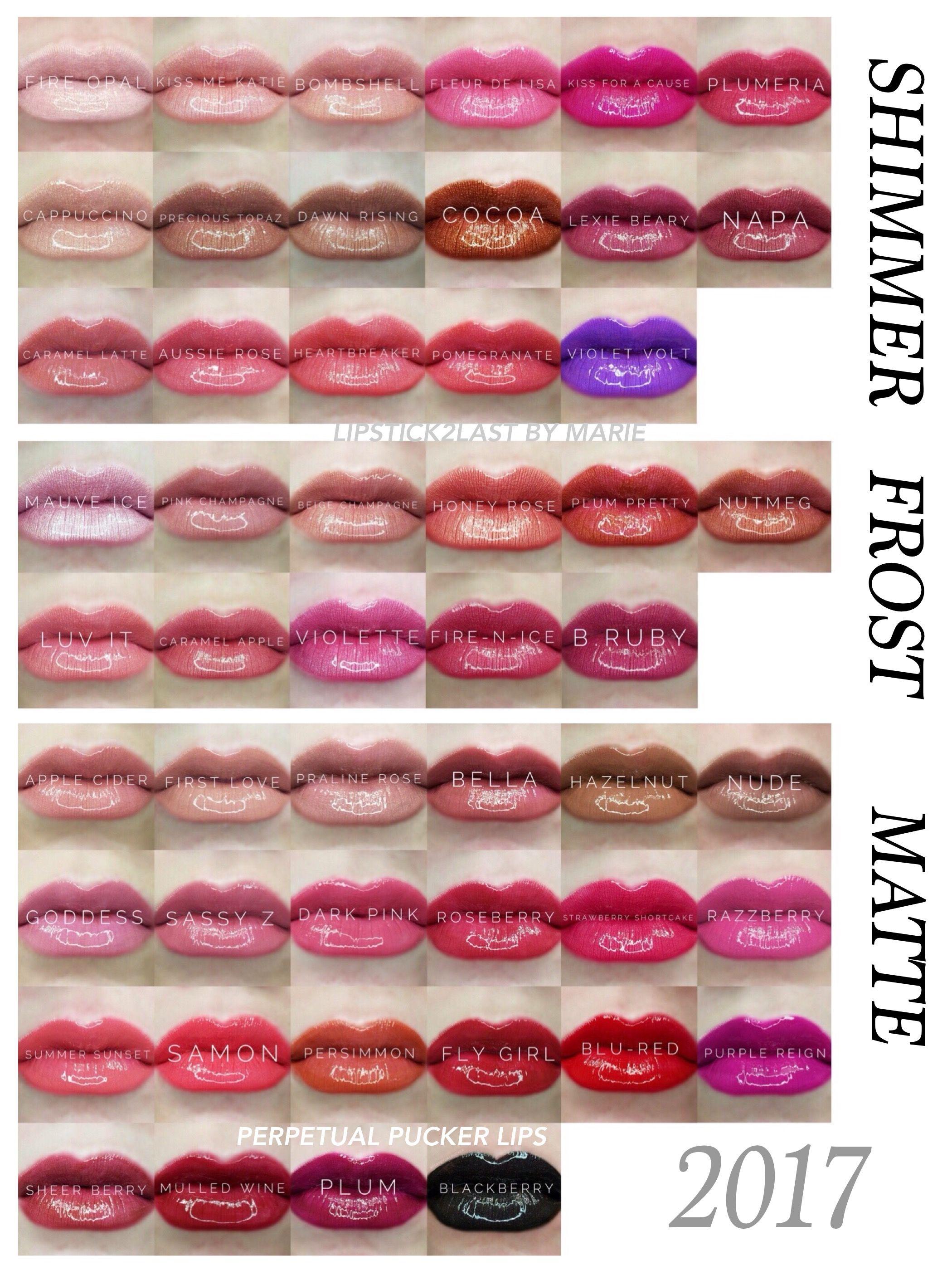 Final 50 LipSense colors chart by finish. LipSense shimmer