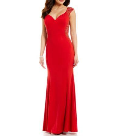 Coya Collection Cap Sleeve Bead Outlined Long Dress | Dillards, Cap ...