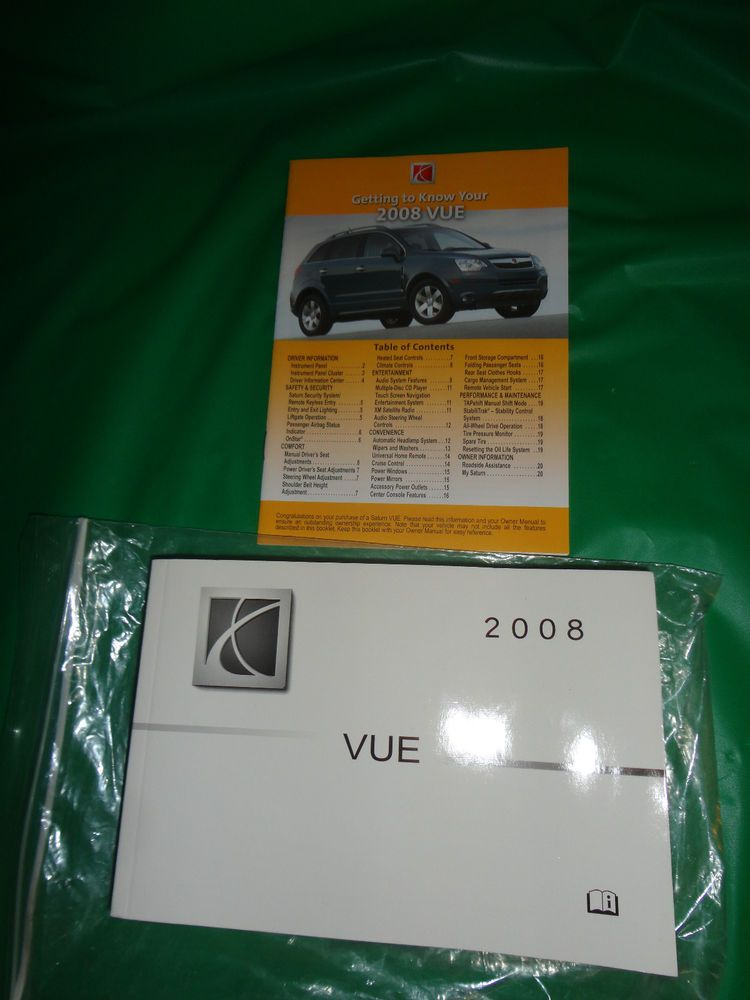 Saturn Vue 2008 Owners Manual With Warranty Other Booklet Find Me At Www Dandeepop Com Saturn Dandeepop Saturn Car Owners Manuals Saturn