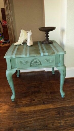 End table redo with Annie Sloan chalk paint Added stripes with