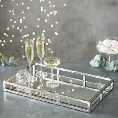 Mirrored Rectangular Tray Kitchen, Silver Mirror Tray Rectangle