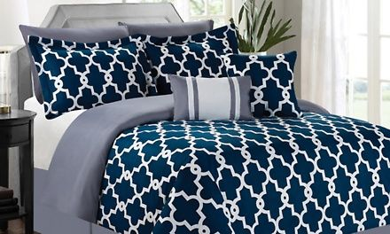 Geometric patterns or the silhouettes of branches add eye-catching style to these comforter sets, which includes matching decorative pillows