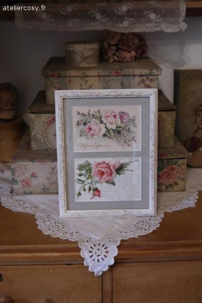 Cadre décor roses anciennes Brocante de charme atelier cosy.fr