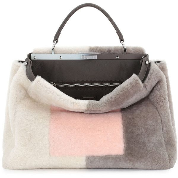 2fa464ee339 Fendi Shearling Fur Large Tricolor Tote Bag ($7,635) ❤ liked on Polyvore  featuring bags, handbags, tote bags, fendi handbags, fur handbag, fendi  tote bag, ...