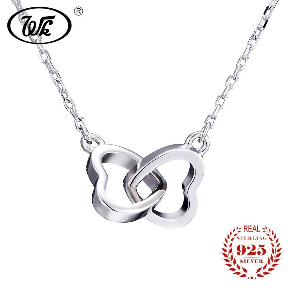 d1c6f7b7487 WK Heart Necklace Women 925 Sterling Silver Necklaces Long Chain Double Heart  Pendant Jewelry Trendy Fashion Sweet Gift W5 NB001